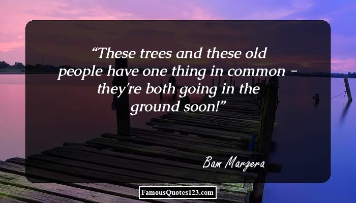 These trees and these old people have one thing in common - they're both going in the ground soon!