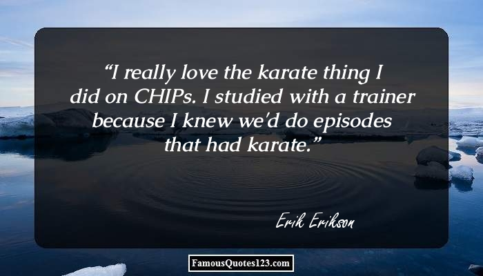 I really love the karate thing I did on CHIPs. I studied with a trainer because I knew we'd do episodes that had karate.