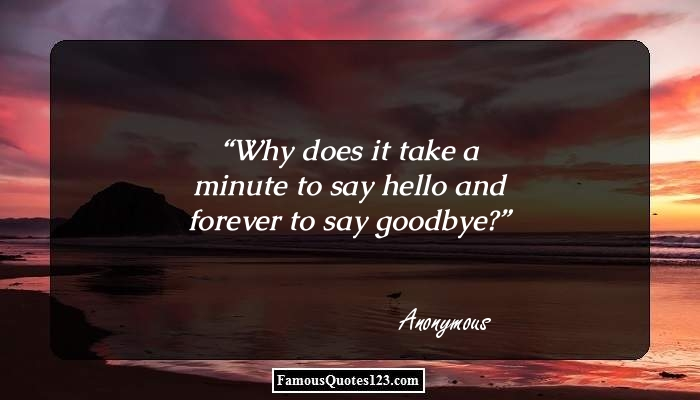 Why does it take a minute to say hello and forever to say goodbye?