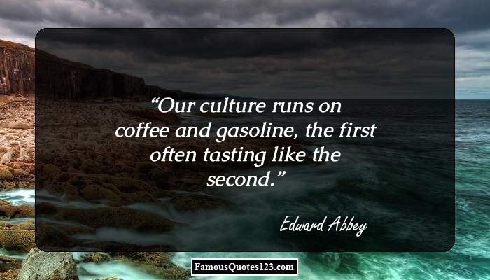 Our culture runs on coffee and gasoline, the first often tasting like the second.