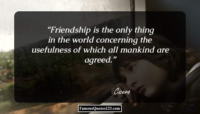 Friendship is the only thing in the world concerning the usefulness of which all mankind are agreed.