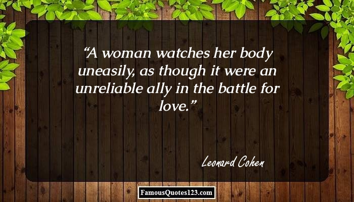 A woman watches her body uneasily, as though it were an unreliable ally in the battle for love.