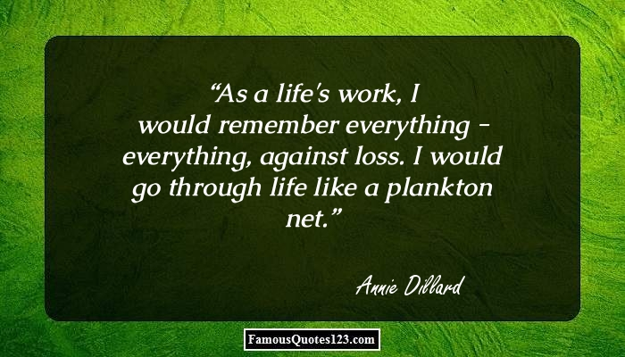 As a life's work, I would remember everything - everything, against loss. I would go through life like a plankton net.