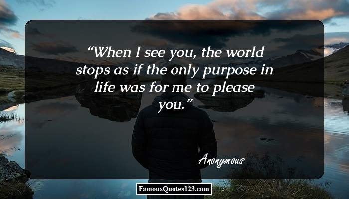 When I see you, the world stops as if the only purpose in life was for me to please you.