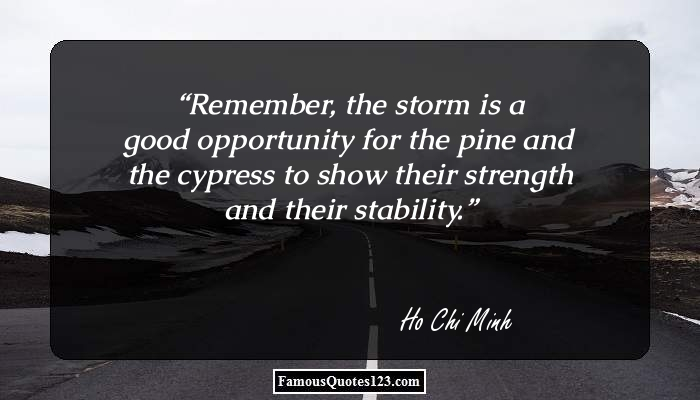 Remember, the storm is a good opportunity for the pine and the cypress to show their strength and their stability.