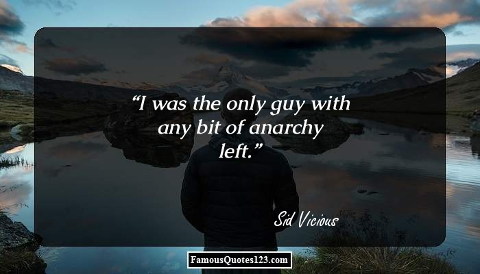 I was the only guy with any bit of anarchy left.