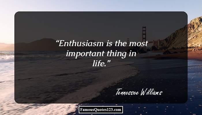 Enthusiasm is the most important thing in life.
