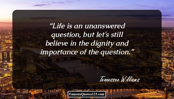Life is an unanswered question, but let's still believe in the dignity and importance of the question.