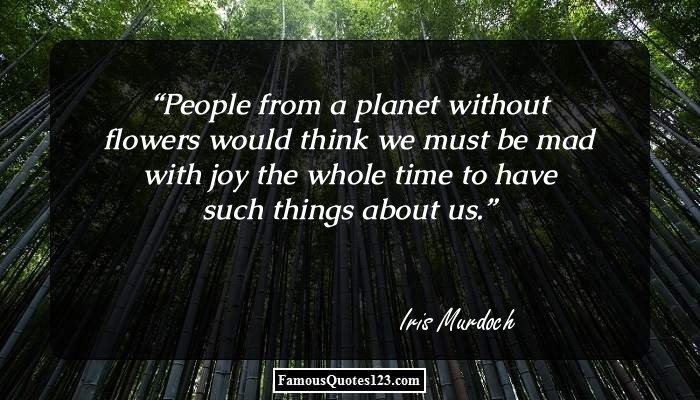 People from a planet without flowers would think we must be mad with joy the whole time to have such things about us.